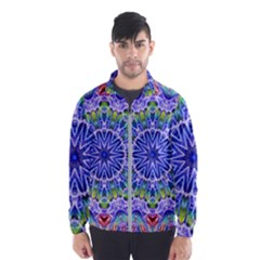 Blue Red White Kaleidoscope 121 Windbreaker (men) by bloomingvinedesign