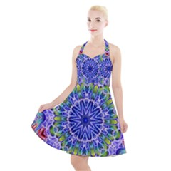 Blue Red White Kaleidoscope 121 Halter Party Swing Dress