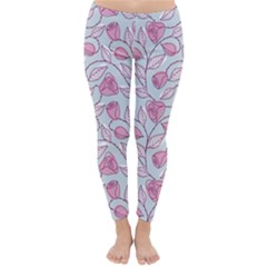 Pink Roses Pattern Classic Winter Leggings