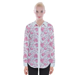 Pink Roses Pattern Womens Long Sleeve Shirt