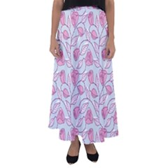 Pink Roses Pattern Flared Maxi Skirt