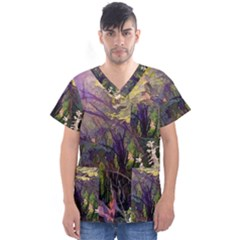 Into Woodlands Men s V Neck Scrub Top by bloomingvinedesign