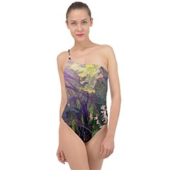 Into Woodlands Classic One Shoulder Swimsuit by bloomingvinedesign