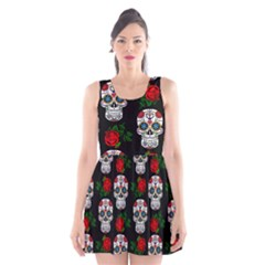 Skull Pattern Black Scoop Neck Skater Dress