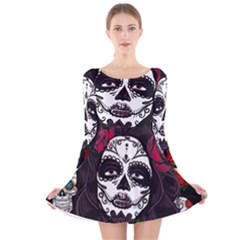 Mexican Skull Lady Long Sleeve Velvet Skater Dress