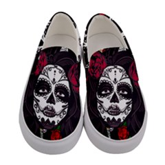 Mexican Skull Lady Women s Canvas Slip Ons