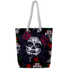 Mexican Skull Lady Full Print Rope Handle Tote (small)