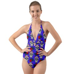 Skull Pattern Blue Halter Cut Out One Piece Swimsuit