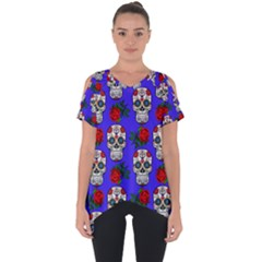 Skull Pattern Blue Cut Out Side Drop Tee