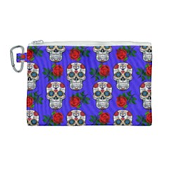 Skull Pattern Blue Canvas Cosmetic Bag (large) by snowwhitegirl