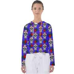 Skull Pattern Blue Women s Slouchy Sweat