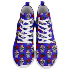 Skull Pattern Blue Men s Lightweight High Top Sneakers by snowwhitegirl