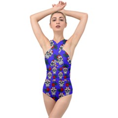 Skull Pattern Blue Cross Front Low Back Swimsuit