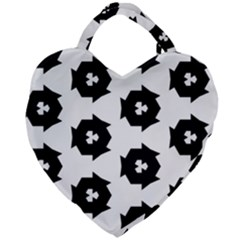 Black And White Pattern Giant Heart Shaped Tote