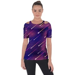 Meteor Shower Shoulder Cut Out Short Sleeve Top