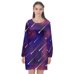Meteor Shower Long Sleeve Chiffon Shift Dress