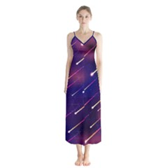 Meteor Shower Button Up Chiffon Maxi Dress