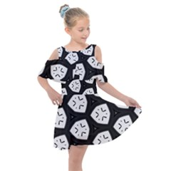 Black And White Kids  Shoulder Cutout Chiffon Dress
