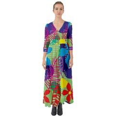 Decoration Decor Pattern Button Up Boho Maxi Dress