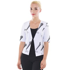 Microphone Realistic Karaoke Cropped Button Cardigan