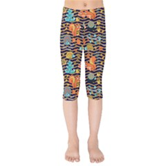 Navy & Orange Zigzag & Woodland Squirrel Pattern Kids  Capri Leggings