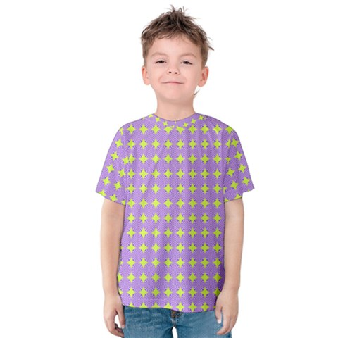Pastel Mod Purple Yellow Circles Kids  Cotton Tee by BrightVibesDesign