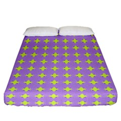 Pastel Mod Purple Yellow Circles Fitted Sheet (queen Size) by BrightVibesDesign