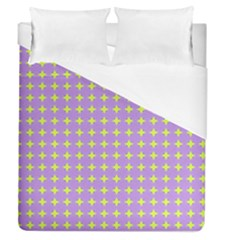 Pastel Mod Purple Yellow Circles Duvet Cover (queen Size) by BrightVibesDesign
