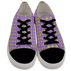 Pastel Mod Purple Yellow Circles Men s Low Top Canvas Sneakers