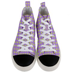 Pastel Mod Purple Yellow Circles Men s Mid Top Canvas Sneakers