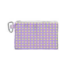 Pastel Mod Purple Yellow Circles Canvas Cosmetic Bag (small) by BrightVibesDesign