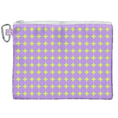 Pastel Mod Purple Yellow Circles Canvas Cosmetic Bag (xxl) by BrightVibesDesign
