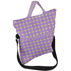 Pastel Mod Purple Yellow Circles Fold Over Handle Tote Bag by BrightVibesDesign