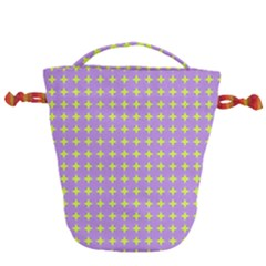 Pastel Mod Purple Yellow Circles Drawstring Bucket Bag by BrightVibesDesign