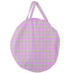 Pastel Mod Pink Green Circles Giant Round Zipper Tote