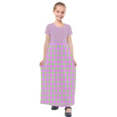 Pastel Mod Pink Green Circles Kids  Short Sleeve Maxi Dress by BrightVibesDesign