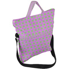 Pastel Mod Pink Green Circles Fold Over Handle Tote Bag by BrightVibesDesign