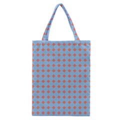 Pastel Mod Blue Orange Circles Classic Tote Bag by BrightVibesDesign