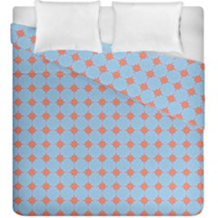 Pastel Mod Blue Orange Circles Duvet Cover Double Side (king Size) by BrightVibesDesign