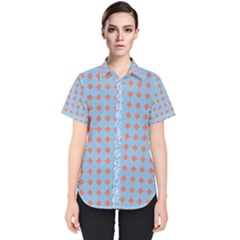 Pastel Mod Blue Orange Circles Women s Short Sleeve Shirt
