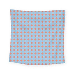 Pastel Mod Blue Orange Circles Square Tapestry (small) by BrightVibesDesign