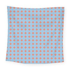 Pastel Mod Blue Orange Circles Square Tapestry (large) by BrightVibesDesign