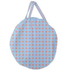 Pastel Mod Blue Orange Circles Giant Round Zipper Tote by BrightVibesDesign