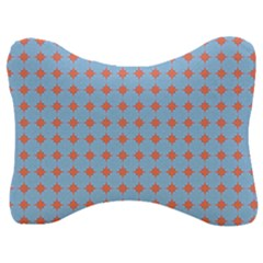 Pastel Mod Blue Orange Circles Velour Seat Head Rest Cushion by BrightVibesDesign