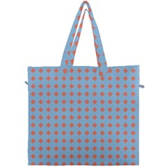 Pastel Mod Blue Orange Circles Canvas Travel Bag by BrightVibesDesign