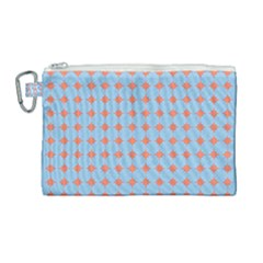 Pastel Mod Blue Orange Circles Canvas Cosmetic Bag (large) by BrightVibesDesign