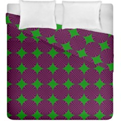 Bright Mod Pink Green Circle Pattern Duvet Cover Double Side (king Size) by BrightVibesDesign