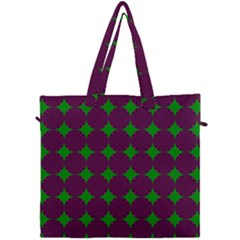 Bright Mod Pink Green Circle Pattern Canvas Travel Bag by BrightVibesDesign
