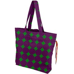 Bright Mod Pink Green Circle Pattern Drawstring Tote Bag by BrightVibesDesign