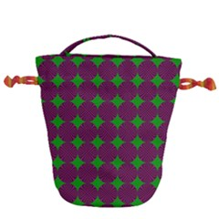 Bright Mod Pink Green Circle Pattern Drawstring Bucket Bag by BrightVibesDesign